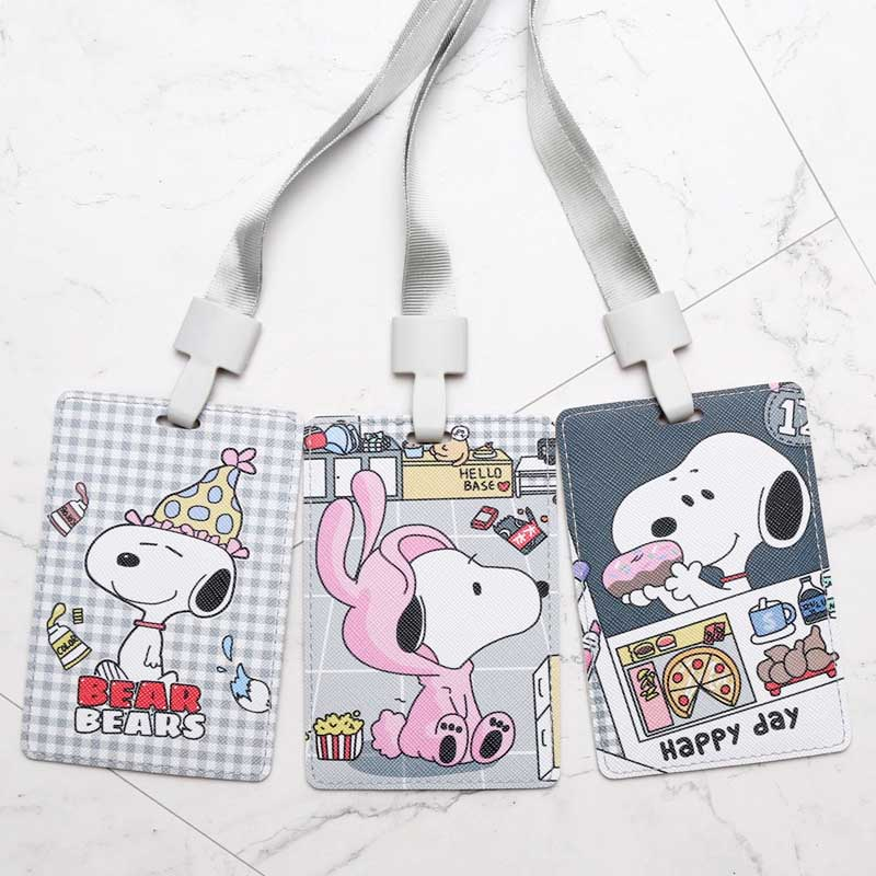 Cartoon Snoopi Credit Card Holders PU Bank Card Neck Strap Card Bus ID Holders Candy Colndy Colors Identity Badge With Lanyard