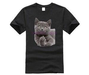 Мужская футболка с забавным дизайном среднего пальца, классная хипстерская летняя футболка с принтом британского короткошерстного кота ...
