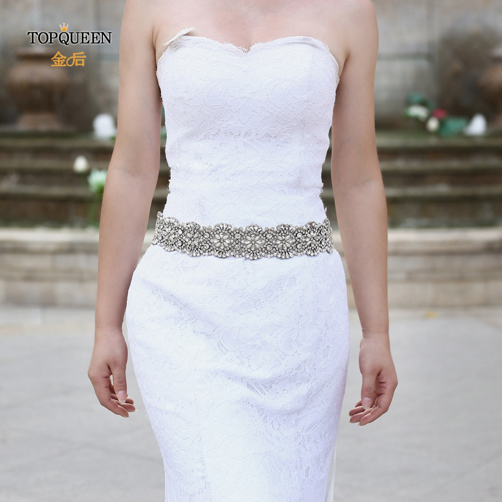 TOPQUEEN S04B Iuxury Bridal Belt Women's Rhinestones Belt Crystals Bride Waist Wedding  Belt For Girlfriend Wedding Dress Belt