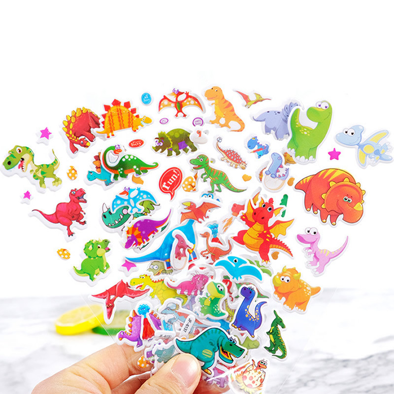 Random Different Cartoon Animals 3D Puffy Bulk Stickers Waterproof PVC Girl Boy Anime Kids Scrapbooking DIY Reward Sticker Toys(China)