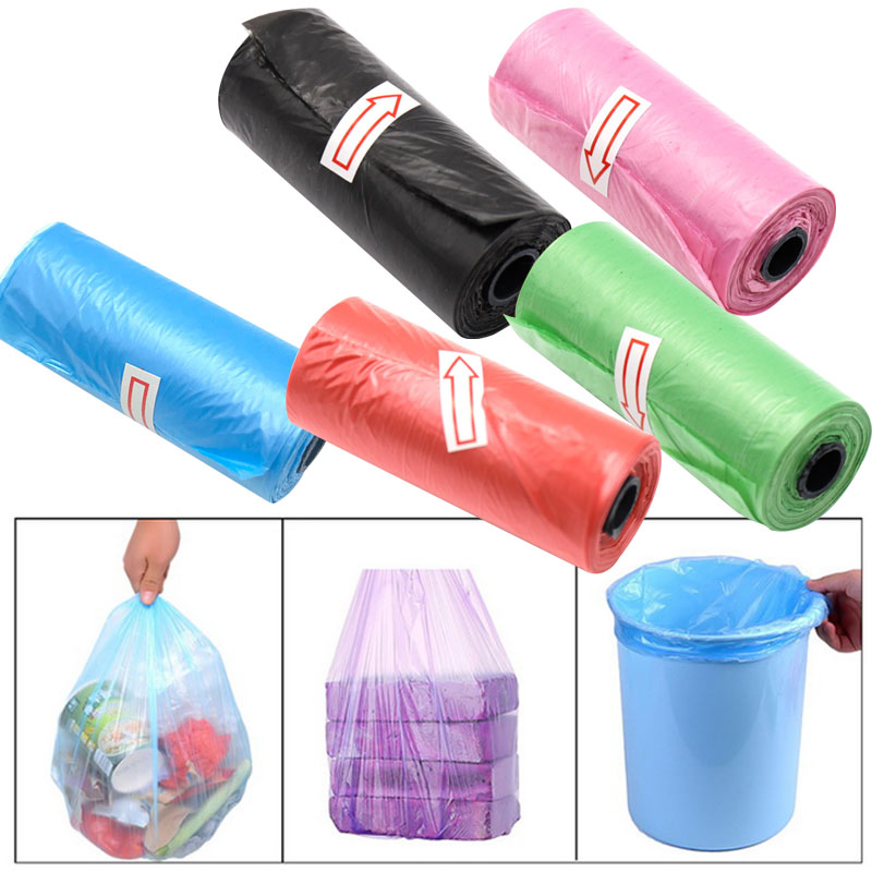 1 Roll Tear-Resistant Plastic Garbage Bags Black Car Commercial Needs Bathroom Rubbish House Kitchen Office Lawn Disposable Bag