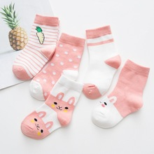 5 pairs/lot 100% Cotton 0-1Year Baby Newborn Floor Socks Girl and Boy Short Sock New Born cotton Winter