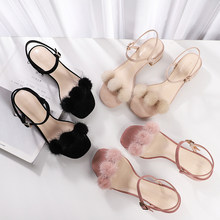 2020 Summer Fluffy Fur Ball Sandals Women Ankle Strap Square High Heels 3.5cm/6cm Faux Suede Solid Shoes Woman Plus Size Sandals(China)