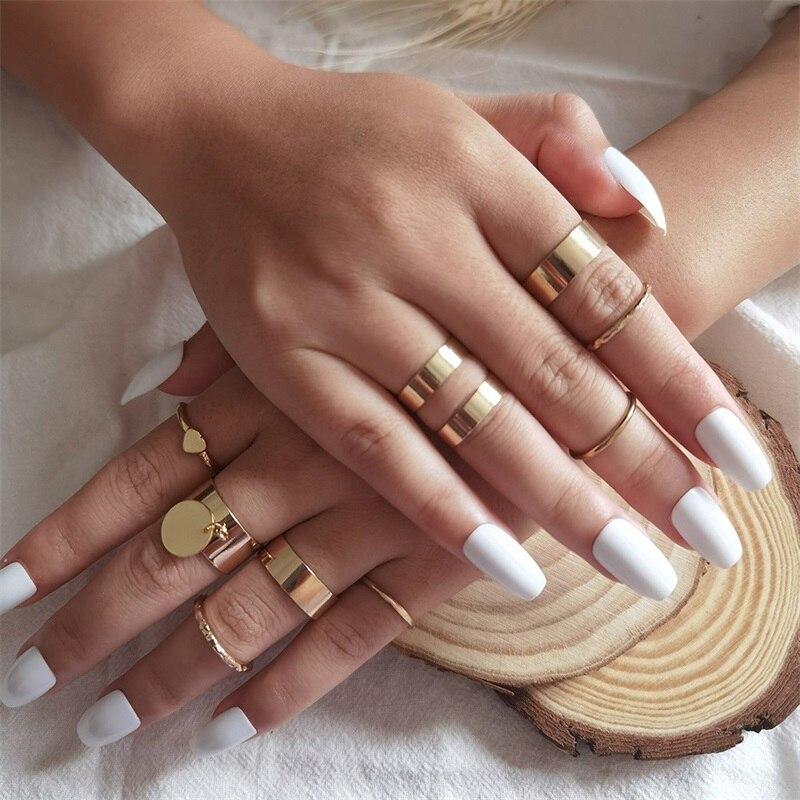Комплект колец 9 шт./компл. для женщин, кольца в стиле панк неправильной геометрической формы, подвеска в виде диска, сердце, костяшки, Золото...