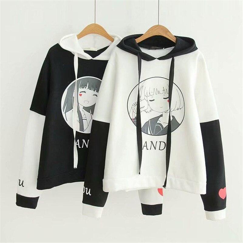 Plus Velvet Sportswear Women's Hooded Sweatshirt Girl Print Cute Korean Student College Wind Spring And Autumn New Girlfriends