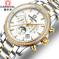 Classic CARNIVAL Men's Watches Top Brand luxury Automatic Mechanical Watch Men All steel Tritium Waterproof Business Sport Watch