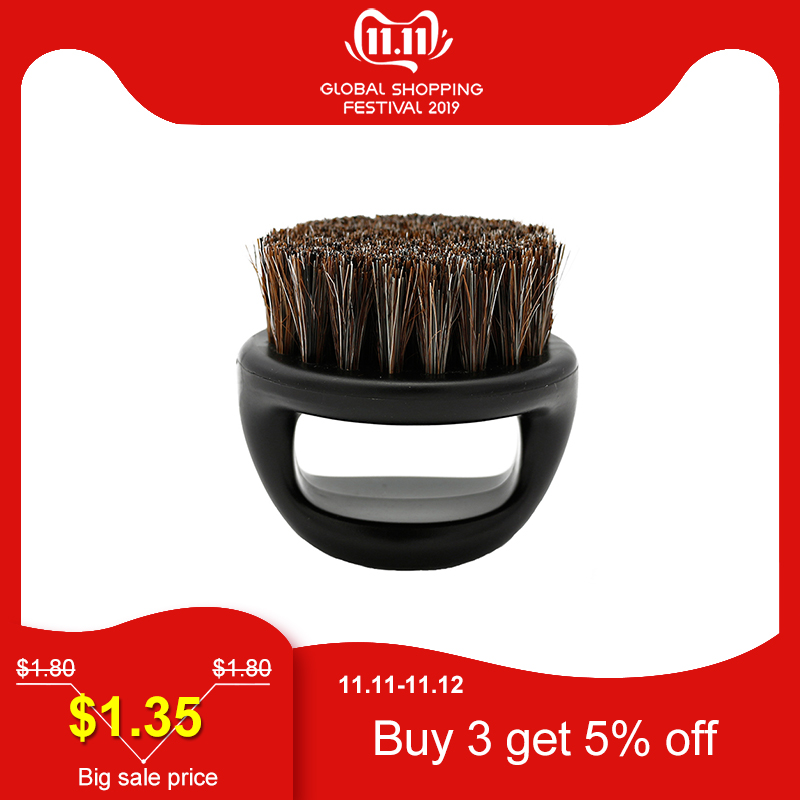 1 Pcs 100% Boar Bristle Men's Shaving Brush Portable Barber Ring Beard Brush For Facial Cleaning Mustache Tools