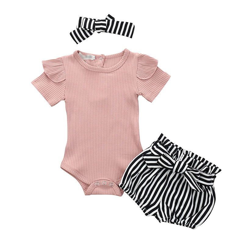 Baby Girls Outfits Kids Clothes Solid Color Tops Clothing Newborn Romper Bodysuit+Demin Printed Shorts Set 13