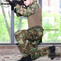 Woodland Camouflage Army Military Uniform Tactical Combat Suit Airsoft War Game Clothing Shirt + Pants Elbow Knee Pads