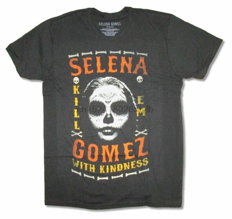 T-shirt noir de Selena Gomez Kill Em, avec gentillesse, nouveau officiel