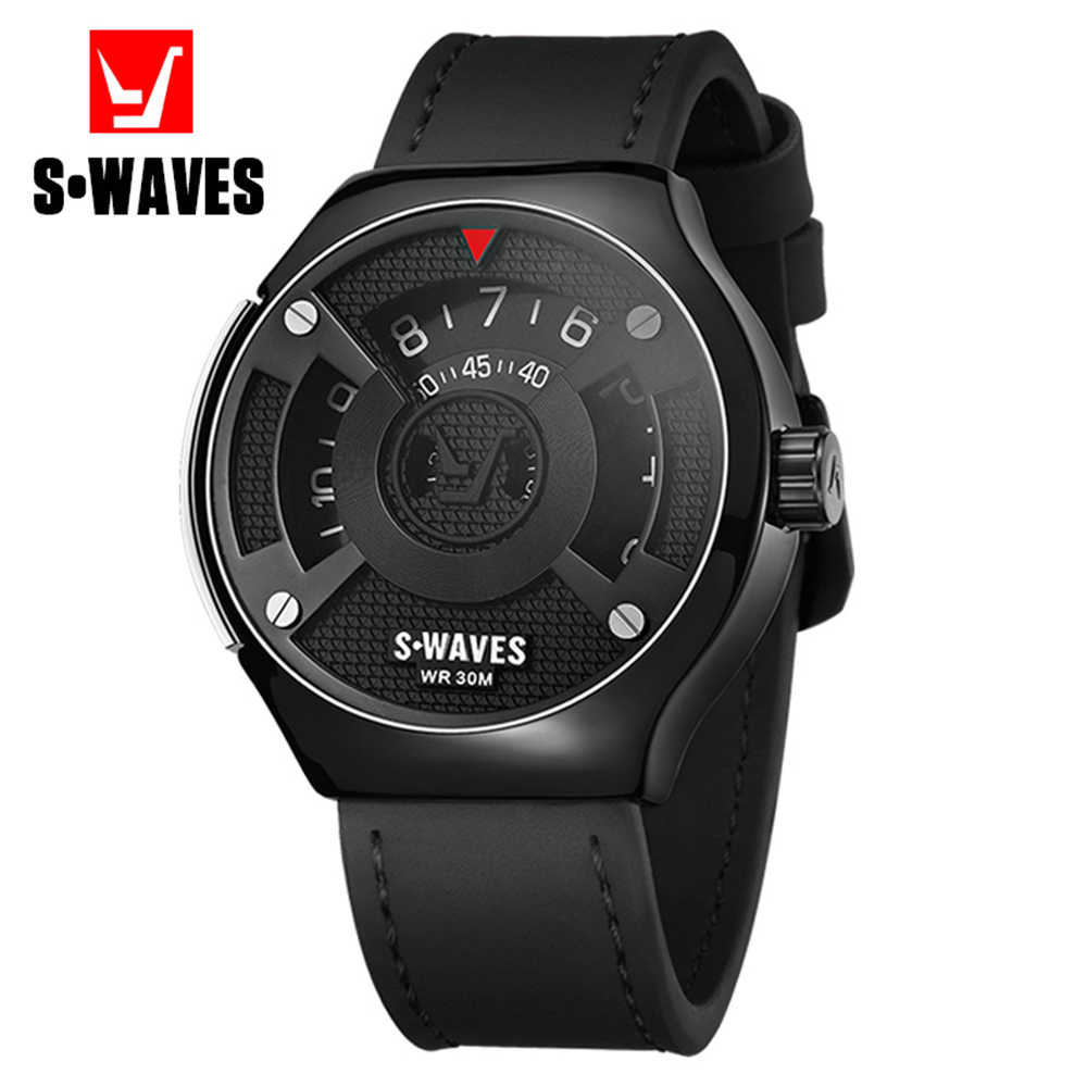 SWAVES Quartz Wrist Watch Men Clock Fashion Luxury Waterproof Relojes Hombre Casual Leather Band Unique New Men's Sports Watch