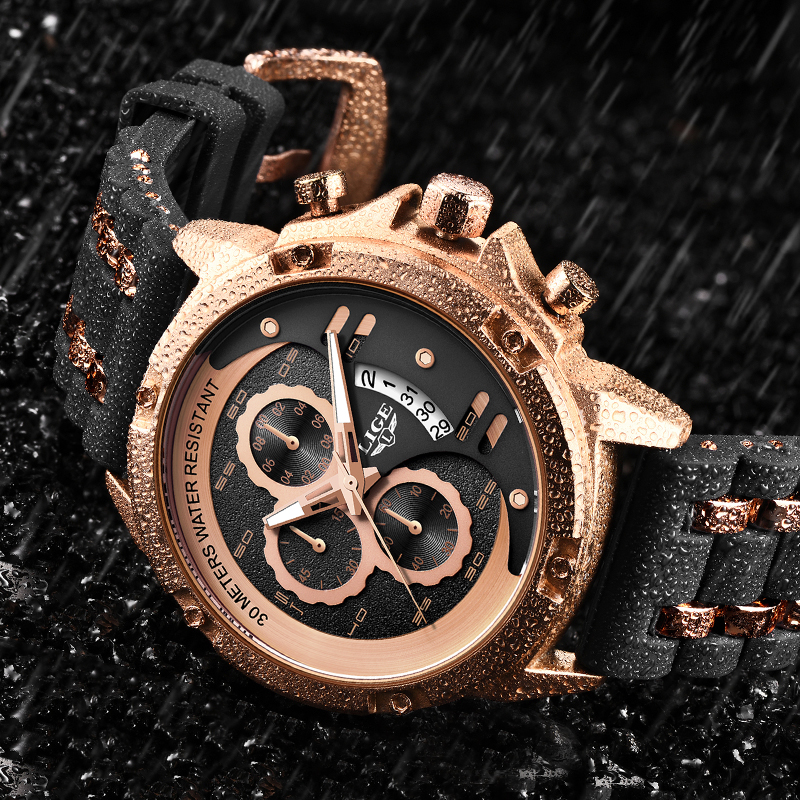 2020 LIGE New Fashion Mens Watches Top Brand Luxury Clock Luminous Display Waterproof Watch Sport Chronograph Quartz Wrist Watch