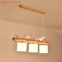 Decorative Nordic Pendant Lights Glass Hanging Lamp Dining Kids Room Restaurant Creative Animal Birds Pendant Lamp Wood Lighting