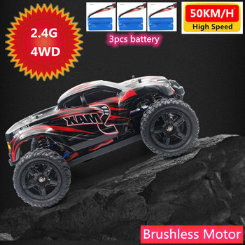 50KM/H High Speed Professional Car 4WD 2.4Ghz Remote Control RC Racing Off-road Car Rock Crawler Climbing Car Brushless Motor image