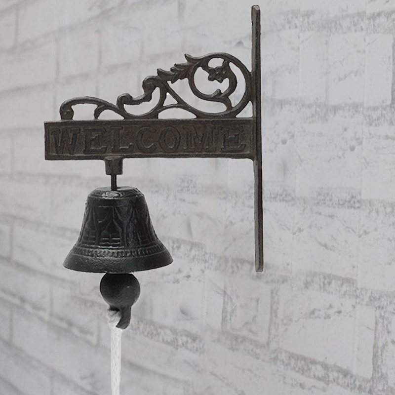 ABKT Nordic Style Vintage Brown Metal Iron Door Bell Wall Mounted Welcome Cast Wireless Doorbell Porch Garden Decoration|Electric Lock| |  - title=
