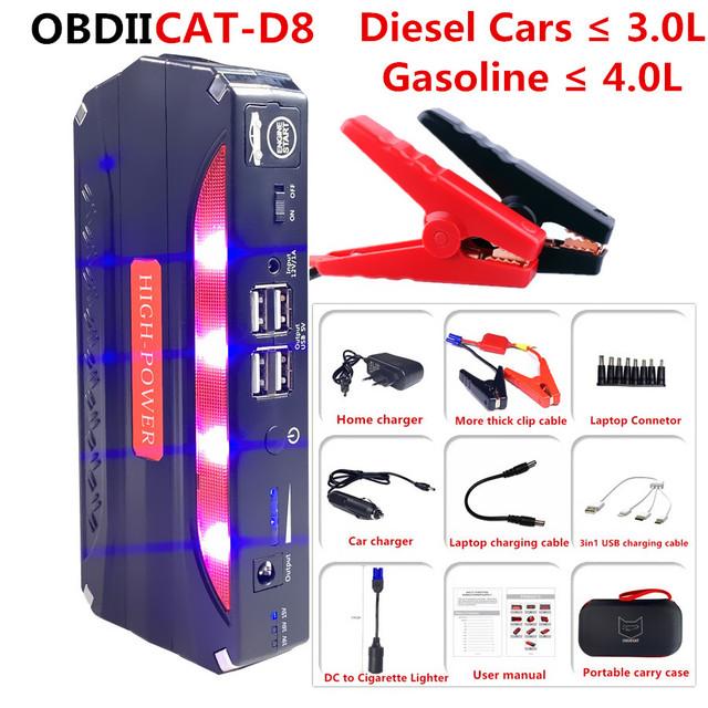 OBDIICAT-D8 Car Jump Starter Car Emergency 12V Car Battery Jump Starter Booster Portable Power Bank 600A Peak Current Functional