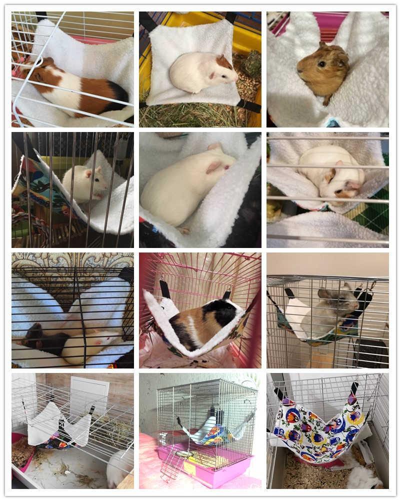 Kain Flanel Hangat Kucing Hamster Chinchilla Timbul Burung Hantu Gambar Tempat Tidur Gantung Guinea Kelinci Kucing Tempat Tidur Gantung Kandang Aksesoris Hewan Peliharaan Ayunan