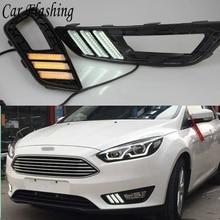 Phare antibrouillard pour Ford Focus 4 2015 2016 2017 DRL, phare de conduite diurne, relais 12V, clignotant jaune