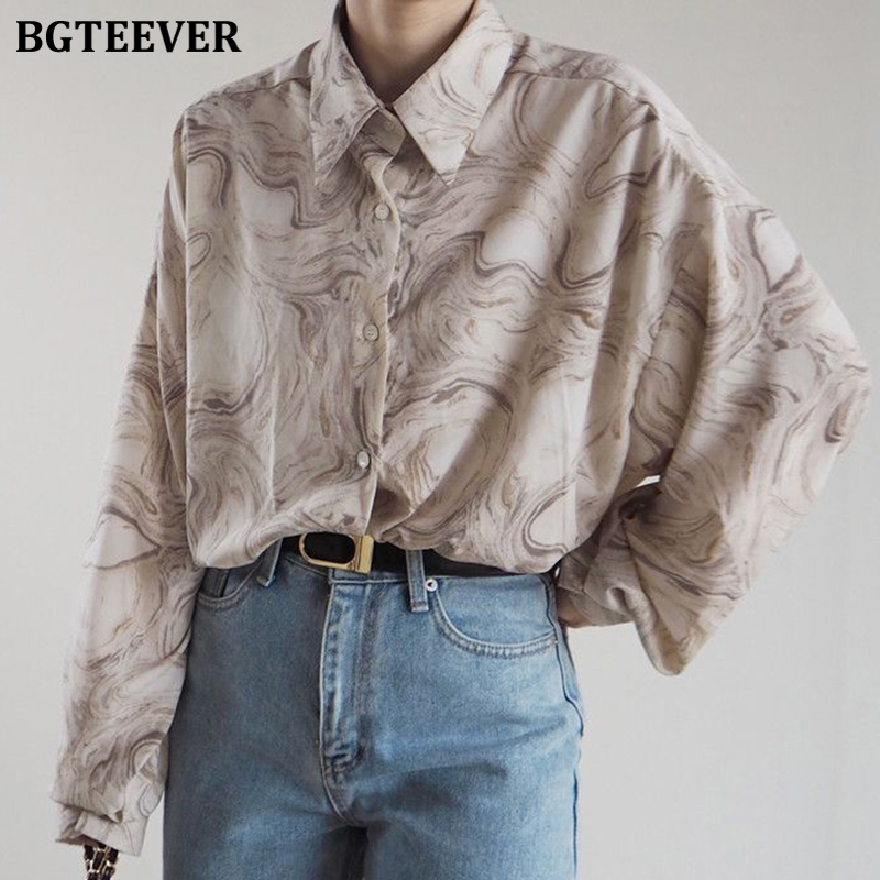 BGTEEVER Vintage Loose Striped Shirts for Women Turn-down Collar Full Sleeve Female Blouses Tops 2020 Spring Summer Shirts Femme
