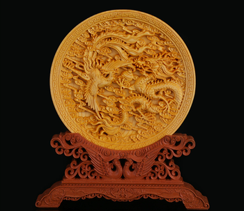 """5.7"""" Chinese Exquisite Box-wood Hand-carved Dragon Phoenix Play Ornament Statue"""