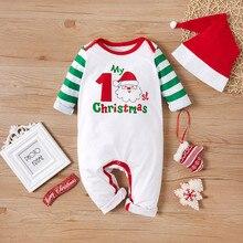 Комбинезон с принтом Санта-Клауса+ шапочка для маленьких мальчиков и девочек; Рождественский Полосатый Мягкий детский ползунок комбинезон; kombinezon dziecko