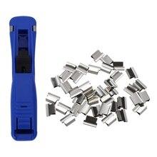 2 набора канцелярских принадлежностей для офиса: 1 набор зажимов-моллюсков, дозатор для заправки и 1 набор, синий пластик, ручной, средний размер, быстрый дозатор зажимов-моллюсков