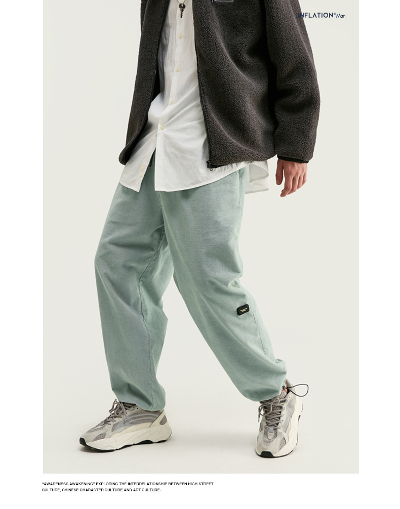 INFLATION Design Mens Winter Corduroy Jogger Pants Pure Color Loose Overalls Men Jogger Corduroy Pants Elastic Waist 93345W 8