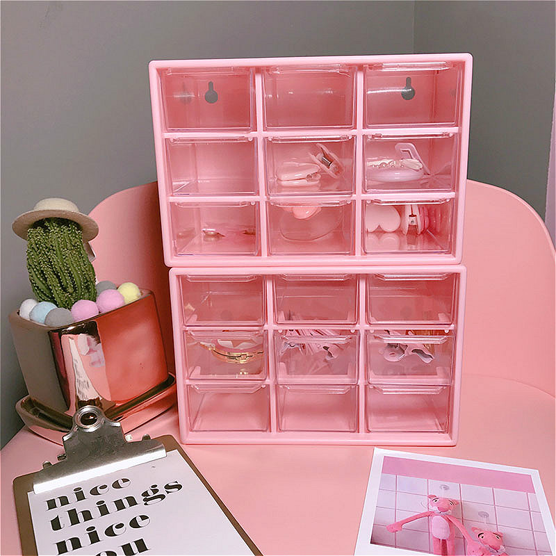 Pink 9 Grid Jewelry Box Drawer Woman Girl Pearl Beads Storage Boxes Plastic Desktop Cosmetic Earrings Makeup Container Organizer