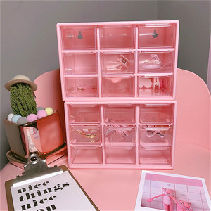 Pink 9 Grid Jewelry Box Drawer
