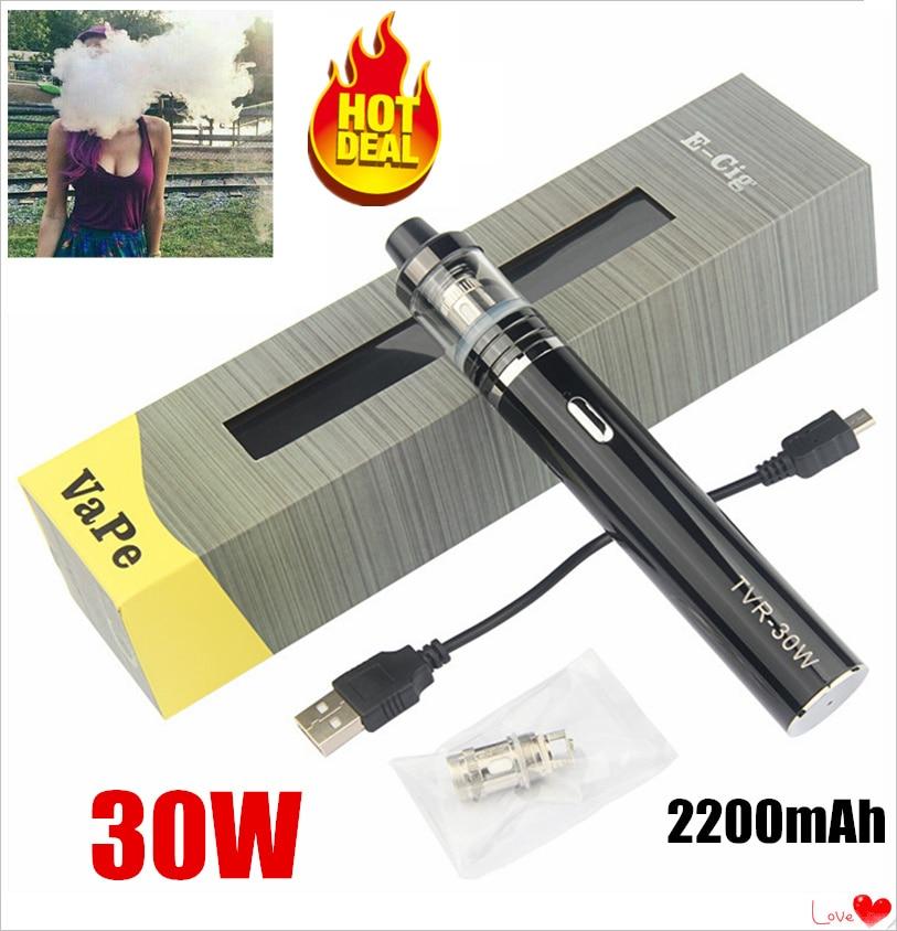 30w Vape Original Electronic Cigarette 2200mAh Starter Pen Kit TVR 30W Vaporizer Mod With 2.5ml 0.3ohm 510 Thread Atomizer Tank