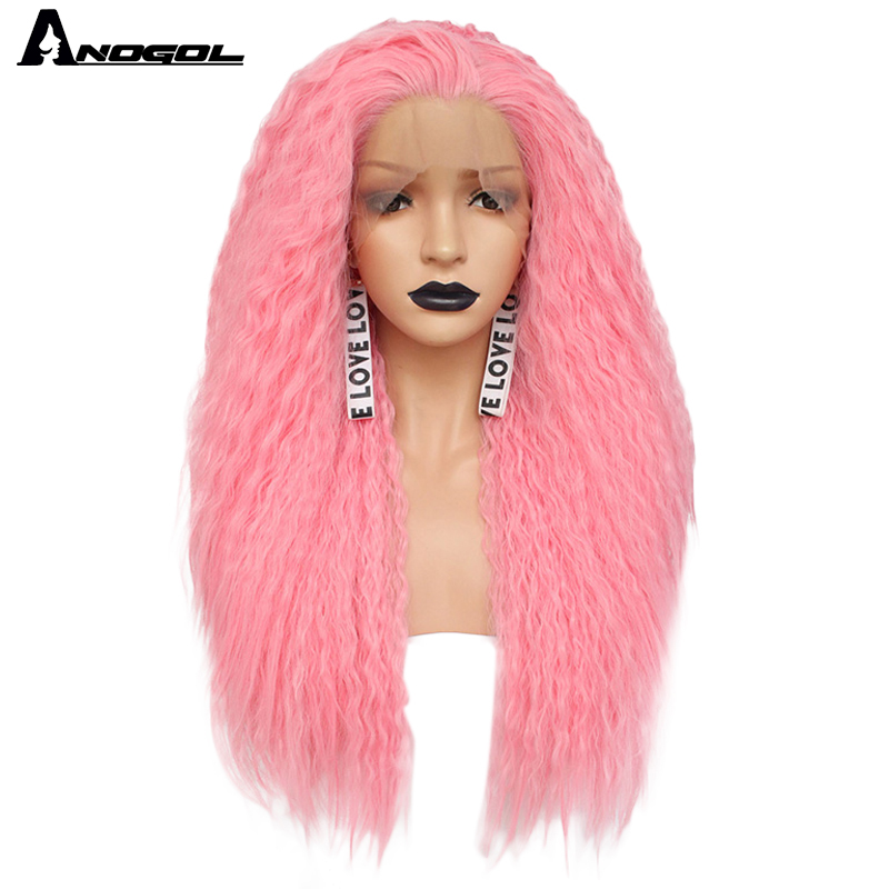 Anogol Free Part High Temperature Fiber Long Curly Red Pink Orange Yellow Blonde Mix Synthetic Lace Front Wig For Women