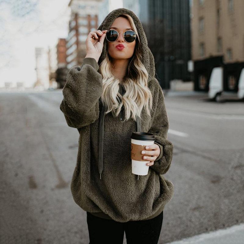 Winter Clothes Women Hoodies Long Sleeve Hooded Pullover Sweatshirt Women Fur Coat Female Plus Size Korean Clothes Dropshipping