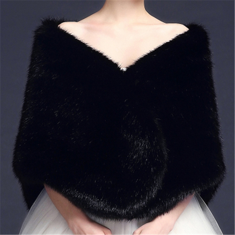 2019 Cheap Stock Red Black Grey Warm Bolero Bridal Cape Winter Fur Women Jacket Shawl Bridal Cloaks Party Wedding Coat BM141