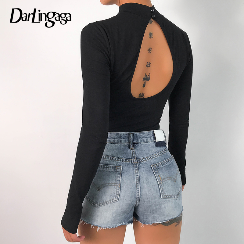 Darlingaga Autumn Winter Cotton Long Sleeve Bodysuit Body for Women Tops Backless Letter Bodycon Jumpsuit Fashion Bodysuits 2020