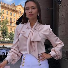 Women Solid Color Bow Tie Blouse 2019 Autumn Elegant Female Long Sleeves Vintage Tops Fashion Office Lady Slim Shirt Plus Size