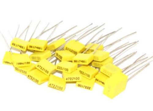 20 штук полипропиленовая защитная пленка Пластик пленка 100V 1nF~ 470nF 100nf 220nf 10nf 47nf 22nf 1nf 0,47 мкФ 0,1 мкФ конденсатор коррекции
