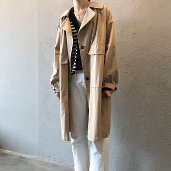 Spring Casual Khaki Women Trench Windbreaker Notched Lapel Single-Breasted Long Coats Japan Korea Style Female Outwears Minimal цена 2017