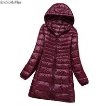 AreMoMuWha2020 nowe zimowe ocieplane kurtki damskie cienkie średniej długości z kapturem modne lekkie luźne płaszcze duże rozmiary S 7XL QX339