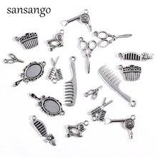 Joyas de plata Vintage collar herramientas secador de pelo/tijera/peine/Espejo colgantes que hacen el collar presente