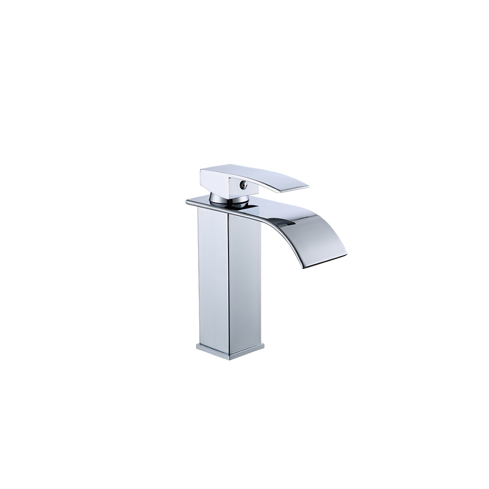 Hdb4d1aec63464fcd8057173a16096a24I Modern Bathroom Basin Faucet Waterfall Deck Mounted Cold And Hot Water Mixer Tap Brass Chrome Vanity Vessel Sink Crane