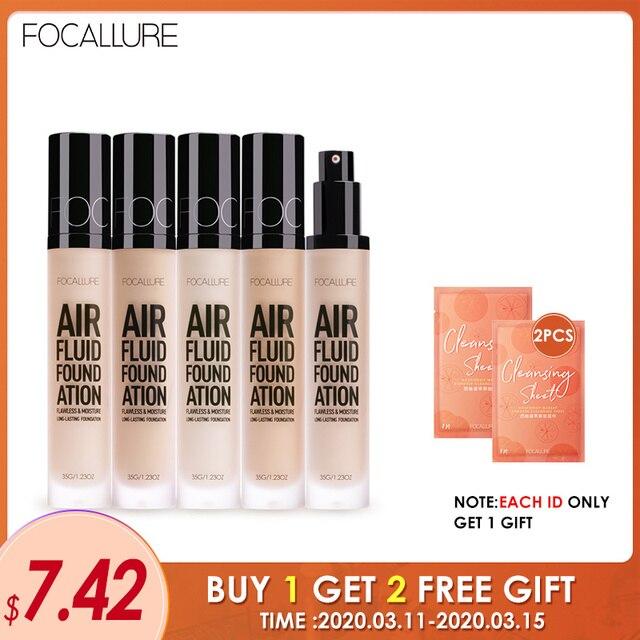 FOCALLURE New AIR FLUID FOUNDATION Moisturizing Natural Foundation Base Long Lasting Waterproof Women Makeup 1