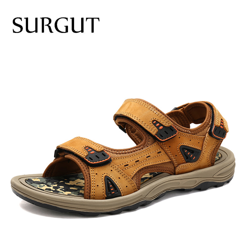 SURGUT Top Quality Sandal Men Summer Genuine Leather Sandals Men Outdoor Beach Shoes Men Classics Walking Shoes Plus Size 39~46