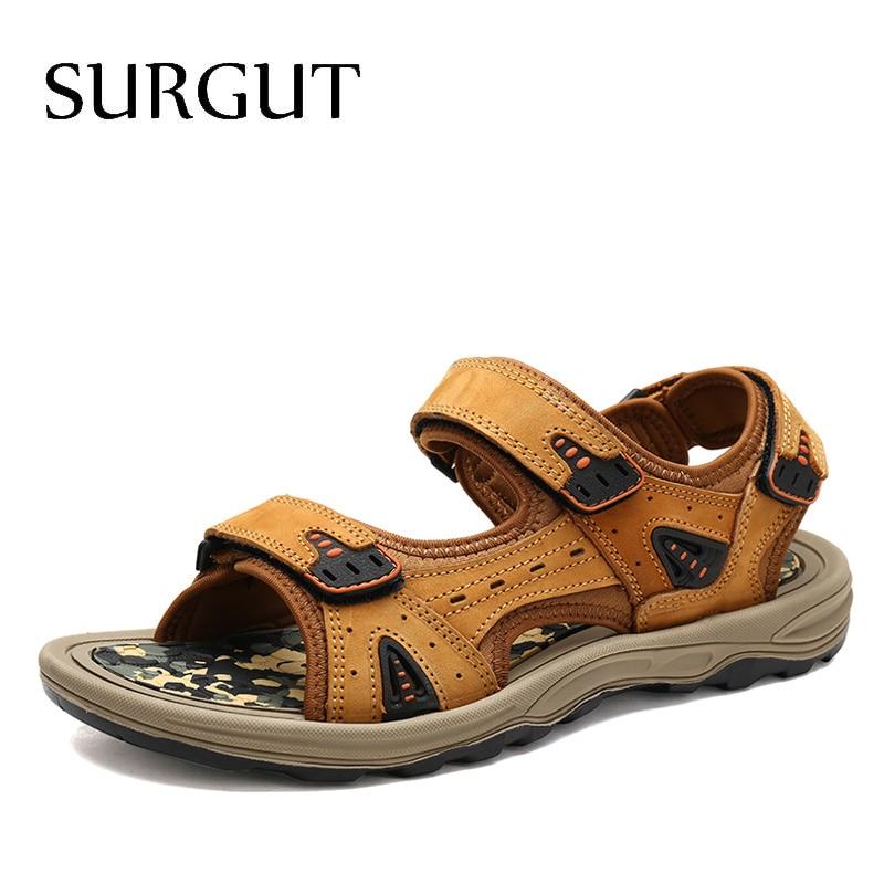 SURGUT Top Quality Sandal Men Summer Genuine Leather Sandals Men Outdoor Beach Shoes Men Classics Walking Shoes Plus Size 39~46