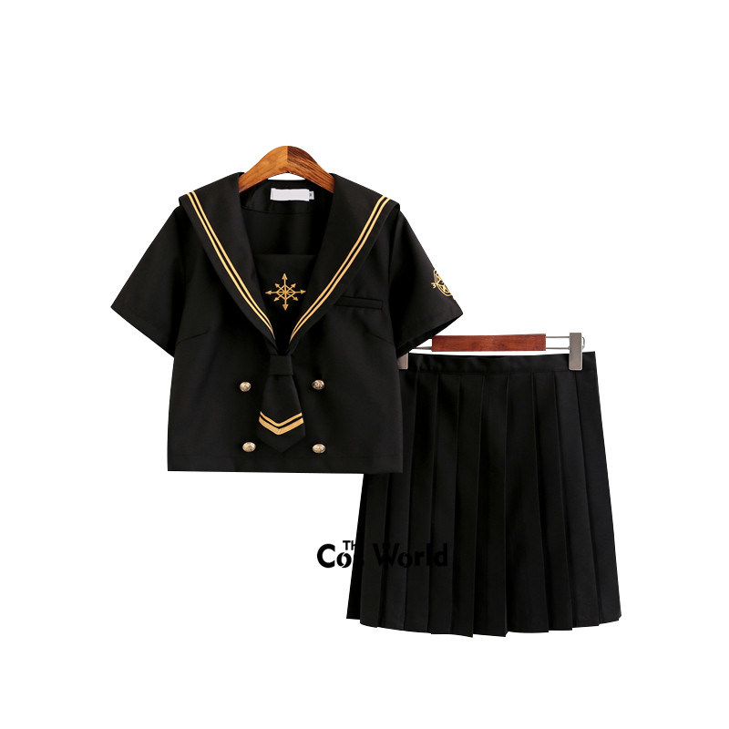 Starmoon Compass Black Summer Navy Sailor Suit Tops Skirts JK High School Uniform Class Uniform Students Cloth