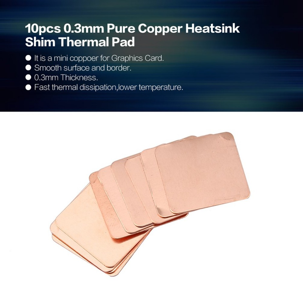 Tool Parts 10pcs Pure Copper Heatsink Shim Thermal Pad Barrier for Laptop Graphics Card 20mmx20mm 0.3mm 0.5mm 0.8mm 1.0mm 1.2mm Specification: 1.0mm