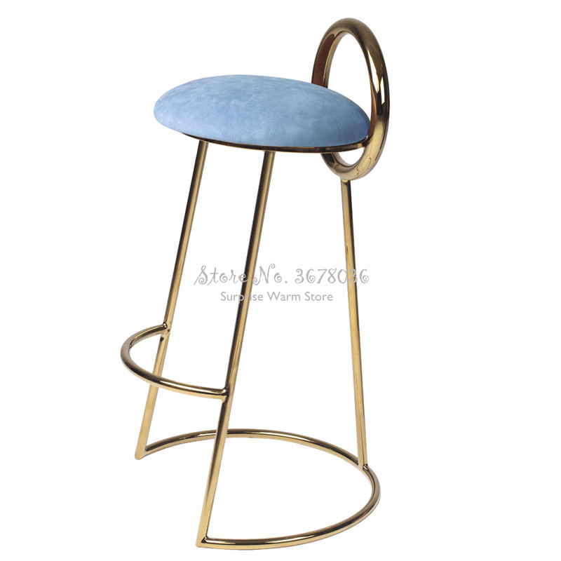 Creative Nordic Iron Bar Stool Golden Coffee Chair Simple Modern With Round Backrest PU Comfort Cushion Sitting Height 75cm