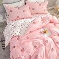 Новинка 4 шт./компл.  Модный хлопковый милый розовый набор постельных принадлежностей для девочек  пододеяльник  простыня и наволочки