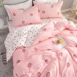 New 4Pcs/Set Fashion Strawberry Bed Sheet Cotton Cute Pink Kawaii Girl Bedding Set Duvet Cover Bed Sheet And Pillowcases