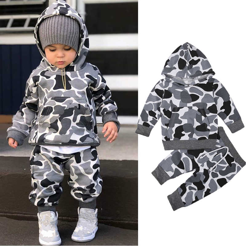 FOCUSNORM 0-4Y Fashion Kids Baby Boys Clothes Sets Camouflage Print Long Sleeve Hooded Pullover Tops+Pants 2pcs