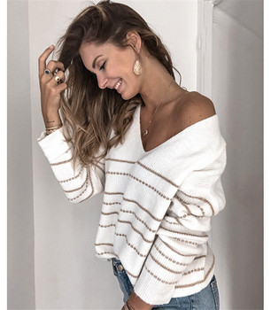 Striped Designer Womens Pullover Sweater Sexy V Neck Plus Size Kniter Fashion Womens Casual Loose Clothes цена 2017